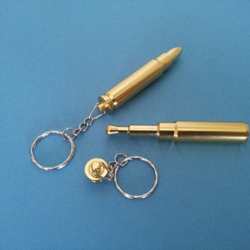 Gold Bullet Keychain Secret Smoking Pipe