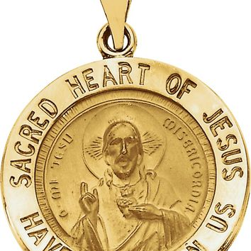 14k Yellow Gold Sacred Heart of Jesus Medal Charm Pendant - 18.5mm