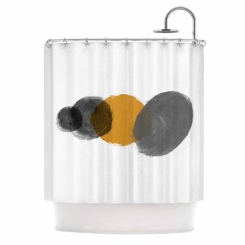 Mustard Grains - Black Gray Abstract Painting Shower Curtain