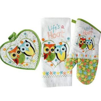 """Life's a Hoot"" 100% cotton owl design Towel Oven glove Heat-resistant mat as kitchen gift 3pcs/set"