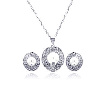 .925 Sterling Silver Rhodium Plated Pearl Round Disc Clear Pave Set Cubic Zirconia Stud Earring &  Necklace Set: SOD