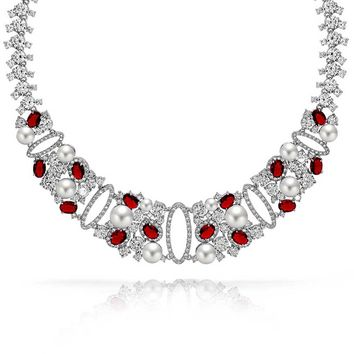 Red CZ Wedding Collar Statement Necklace Pearl Rhodium Plated