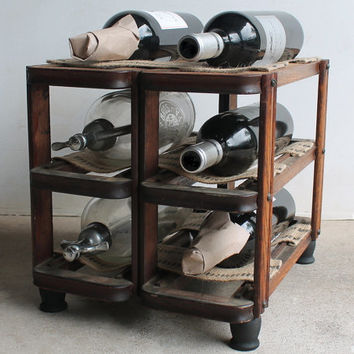 Industrial Wine Rack or Bottle Holder Made from Antique Sewing Machine Drawer Frames