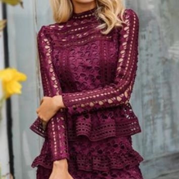 Bring Me To Tiers Long Sleeve Sheer Crochet Lace Mock Neck Tiered Ruffle Mini Dress - 2 Colors Available