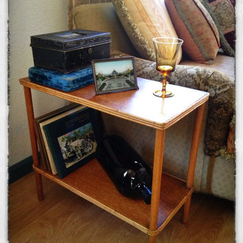 Bohemian Bamboo Side Table, Two Tier, Golden Honey Accent Table