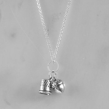 Acorn and Thimble Kisses Charm Necklace Peter Pan and Wendy in Sterling Silver
