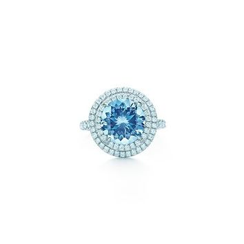 Tiffany & Co. -  Tiffany Soleste ring in platinum with diamonds and an aquamarine.