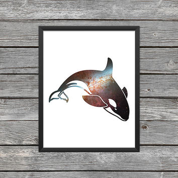 Killer Whale Poster Killer Whale Print Killer Whale Silhouette Orca Art Orca Print Space Art Galaxy Art Nebula Art Instant Download