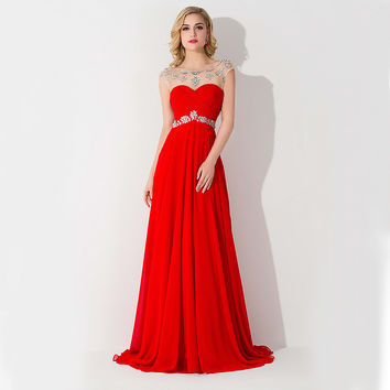 Long Luxury Evening Beaded Prom Dress