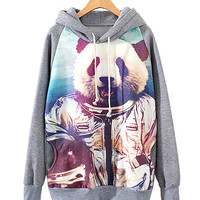 Gray Armed Panda Print Grey Hooded Jacket
