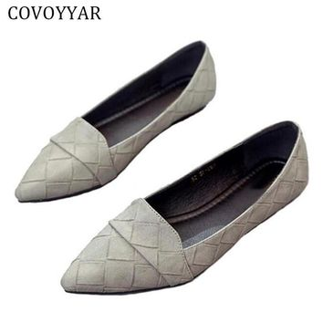 COVOYYAR 2017 Fashion Plaid Pattern Women Shoes Spring Fall Pointed Toe Women Loafers