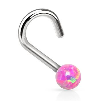 BodyJ4You Nose Ring Screw Stud Pink Opal Stone Surgical Steel 20G Body Piercing Jewelry
