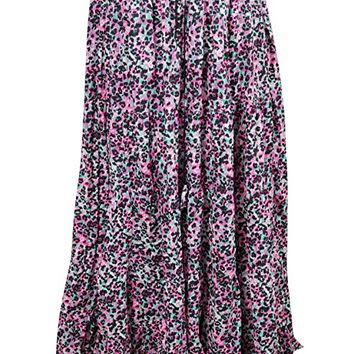 Mogul Interior Womans Gypsy Tiered Skirt Printed Pink Passion Tiered Sexy Flare Maxi Summer Skirts M/L