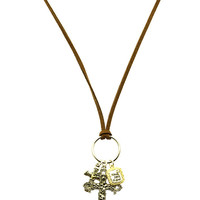 NECKLACE / TWO TONE METAL / CROSS CHARM / FAUX SUEDE STRAND / TEXTURED / MESSAGE / HAVE FAITH IN GOD / AGED FINISH / 30 INCH LONG / 2 1/2 INCH DROP / NICKEL AND LEAD COMPLIANT
