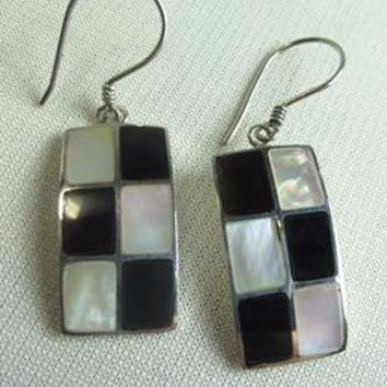 Checkered Shell and Silver Earrings