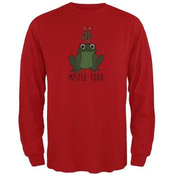 LMFCY8 Christmas Mistletoe Toad Funny Pun Mens Long Sleeve T Shirt