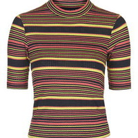 Stripe Funnel Top - Black