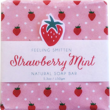 Feeling Smitten Strawberry Mint Soap 5.3 oz Bar