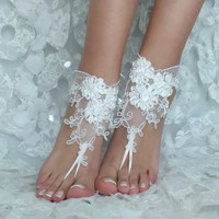 Of white lace barefoot sandals wedding barefoot lace sandals Beach wedding barefoot sandals beach Wedding sandals Bridal Sandal