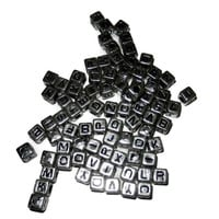 Silver Square Alphabet Letter Beads