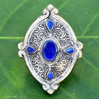 4 Stone Big Vintage Kuchi Ring Lotus Carved Tribal Antique Ethnic Jewelry Silver