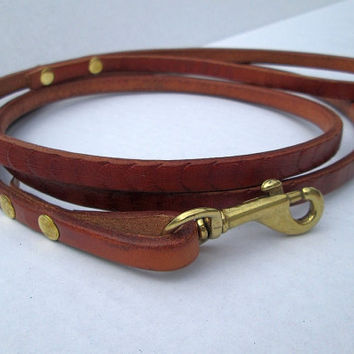 Petite leather leash , designer lead , show leash , thin leather leash , handmade leather lead , custom petite leather lead ,