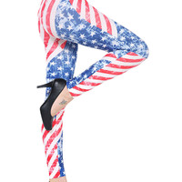 Multi American Flag Pattern High Waist Stretchy Leggings