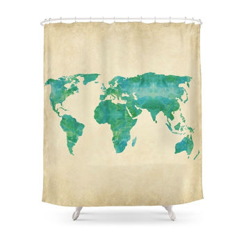 Society6 Watercolor World Map Shower Curtains