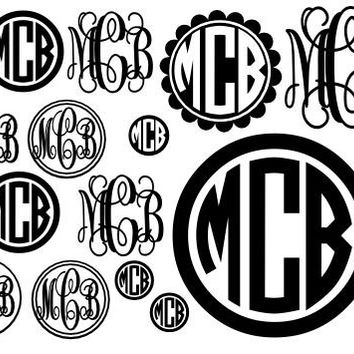 Full Page of Vinyl Monogram Stickers