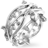 Silvertone Zircon Vines Ring, size : 10