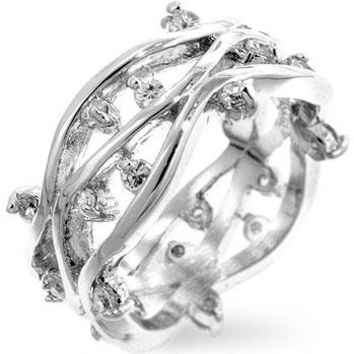 Silvertone Zircon Vines Ring, size : 08
