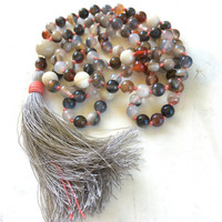 Autumn Mala Beads, Emotional Healing Mala Necklace, Botswana Agate Mala Beads, 108 Mala Beaded Necklace, Yoga Practice Beads, Chakra Healing