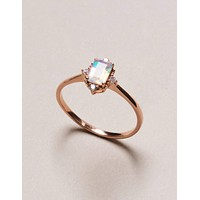 Opal Rose Gold Ring - Square Cut