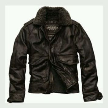 ABERCROMBIE & FITCH ROLLINS BROWN LEATHER AVIATOR FLIGHT BOMBER JACKET Size L