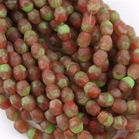 100 Czech Fire Polished 4mm Round Bead Hurricane Matte Cactus Fig FP4-04780H
