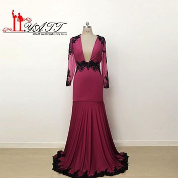 2017 Prom Dresses Evening Gowns Elegant Burgundy Deep V-Neck Long Sleeves Mermaid Appliques Lace Sweep Train Formal Dress LY630