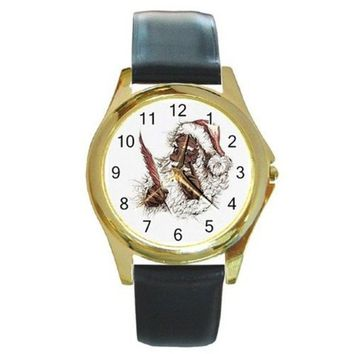 African American Santa Claus w/ Quill Pen & List on a Gold Tone Watch with Le...