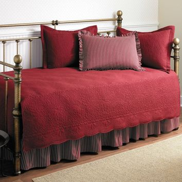Twin Size 5 Piece Daybed Cover Ensemble Quilt Set In Scarlet Red Cotton