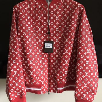 Supreme X Louis Vuitton Red Leather Blouson SKU 1A3FBF Monogram Bomber Jacket XL