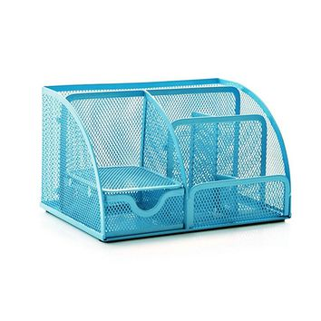 M-Aimee Mesh Desk Organizer,office Organizer Supplies ,Pen Holder-5-part (Blue)