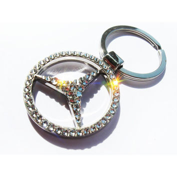 Mercedes keychain with Swarovski Has video Car Crystal Keychain Mercedes keychain Mercedes Silver keychain bling car logo schlüsselanhänger