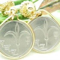 Israel 1 New Sheqel Coin Earrings 14kt Gold Filled
