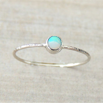 White Gold Ring, Opal Gold Ring, Opal Ring, Stacking Ring, Gemstone Stack Ring, Gold Stack Ring, October Jewelry, Birthstone Jewelry