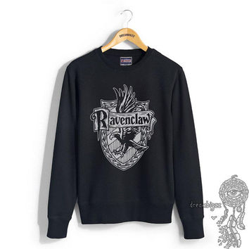 Ravenclaw Crest #2 One color printed on Black Crew neck Sweatshirt