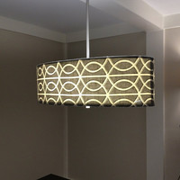 "Drum Lamp Shade Pendant Light /  You can choose the Fabric / Pendant light stem is silver diffuser included shade is an oval 26""x14""x9"""
