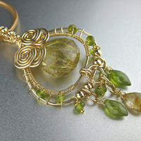 Wire Wrapped Golden Green Stone Necklace Gemstone Jewelry Handmade