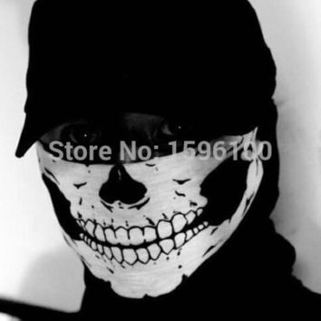 PEAPHY3 New Halloween Skull Skeleton Outdoor Motorcycle Bicycle Multi function Headwear Hat Scarf Half Face Mask Cap Neck Ghost Scarf