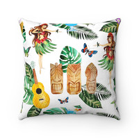 Tiki Hut Island Decorative Throw Pillow, Beach House Decor, Tropical Theme Throw Pillow