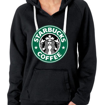 Women Lady Starbucks coffee V Neck Hoodie Fleece Quality American Brand Hoodie S-2XL