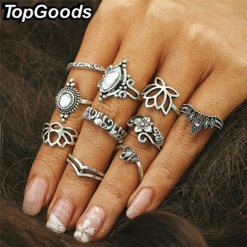 TopGoods Bohemia Vintage Opal Stone Rings Set Ethnic Carving Antique Silver Color Ring for Women Boho Beach Jewelry 10 pcs/set